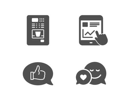 Set of Internet report, Feedback and Coffee vending icons. Dating sign. Web tutorial, Speech bubble, Coffee vending machine. Love messenger.  Quality design elements. Classic style. Vector Illustration