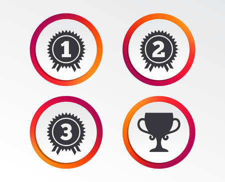 First, second and third place icons. Award medals sign symbols. Prize cup for winner. Infographic design buttons. Circle templates. Vector illustration.