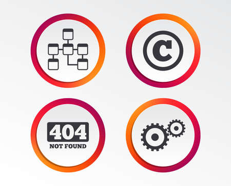 Website database icon. Copyrights and gear signs. 404 page not found symbol. Under construction. Infographic design buttons. Circle templates. Vector illustration.
