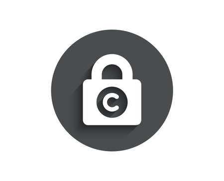 copyright locker simple icon. Copyrighting sign.   Circle flat button with shadow. Vector illustration.