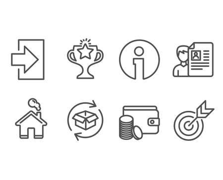 Set of Job interview, Return parcel and Login icons. Vector illustration. Çizim