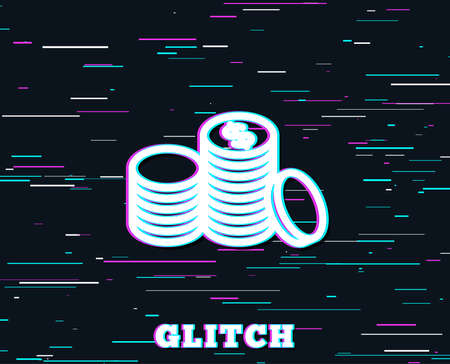 Glitch effect  Coins money line icon.    Background with colored lines. Vector illustration. Иллюстрация