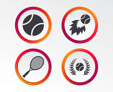 Tennis ball and racket icons. Fast fireball sign. Sport laurel wreath winner award symbol. Infographic design buttons. Circle templates. Vector illustration. 일러스트