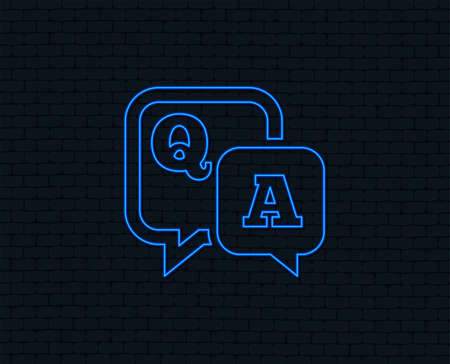 Neon light. Question answer sign icon. Q&A symbol. Glowing graphic design. Brick wall. Vector