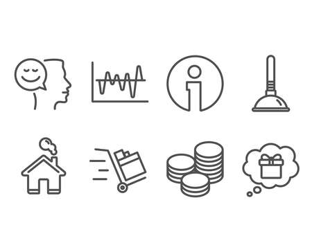 Set of Tips, Plunger and Good mood icons. Vector illustration.