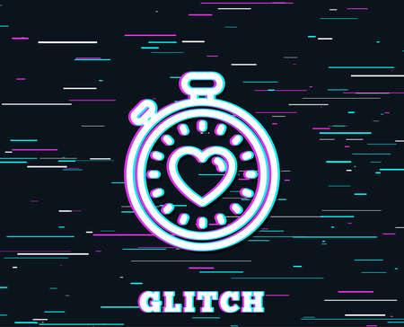 Glitch effect  Heart in Timer line icon.  Background with colored lines. Vector illustration.