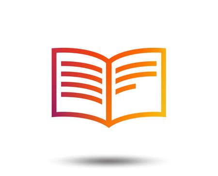 Book sign icon. Open book symbol. Blurred gradient design element. Vivid graphic flat icon. Vector illustration. Ilustração