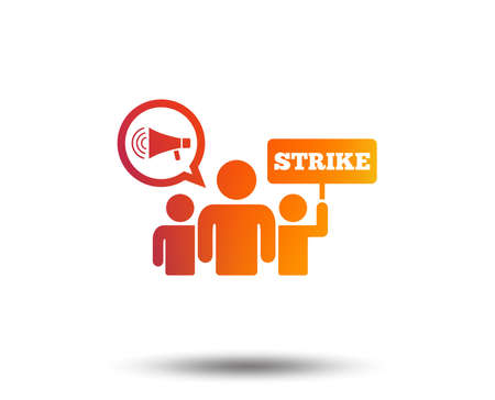 Strike sign icon. Group of people symbol   Holding protest banner and megaphone. Blurred gradient design element. Vivid graphic flat icon. Vector illustration.