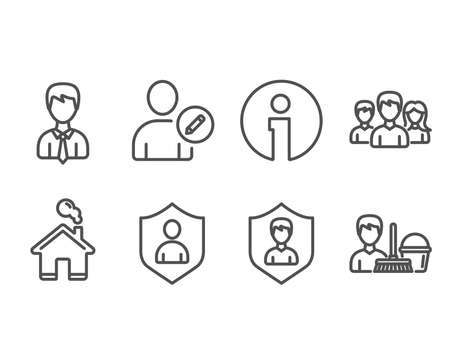 Set of Security, Businessman and Edit user icons. Vector illustration. Çizim