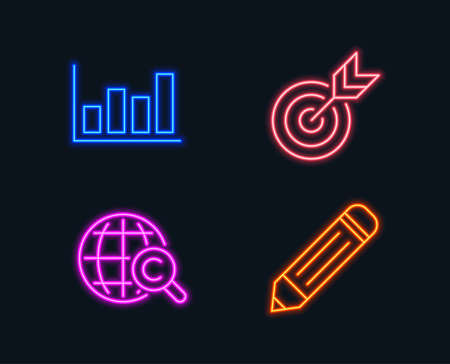 Neon lights. Set of Target, Report diagram and International Copyright icons. Pencil sign. Targeting, Financial market, World copywriting. Edit data. Glowing graphic designs. Vector