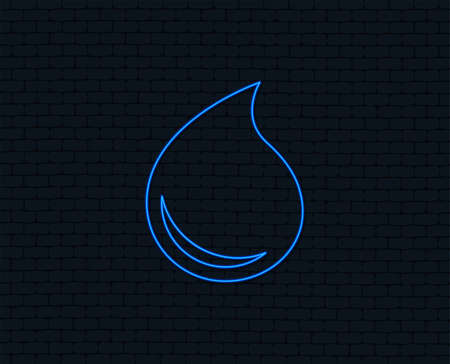 Neon light. Water drop sign icon. Tear symbol. Glowing graphic design. Brick wall. Vector illustration.