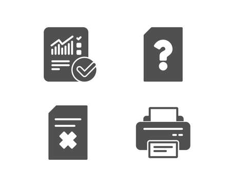 Set of unknown file, delete file and checked calculation icons. Printer sign. doc with question mark, remove document, statistical data. Printing device. Quality design elements. Classic style  illustration.