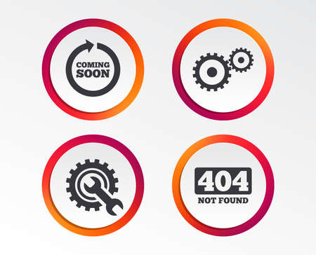 Coming soon rotate arrow icon. Repair service tool and gear symbols. Wrench sign. 404 Not found. Info-graphic design buttons. Circle templates. Vector illustration. Illustration