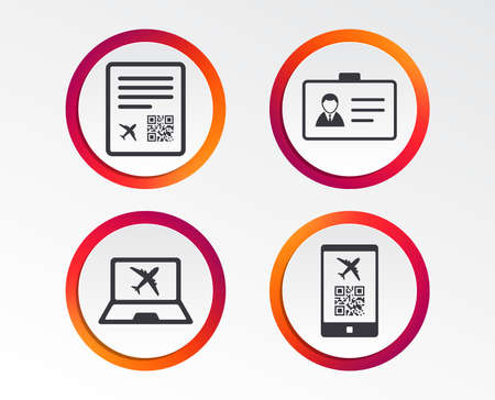 QR scan code in smartphone icon. Boarding pass flight sign. Identity ID card badge symbol. Info-graphic design buttons. Circle templates. Vector illustration. Illustration