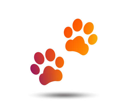 Paw sign icon. Dog pets steps symbol. Blurred gradient design element. Vivid graphic flat icon. Vector