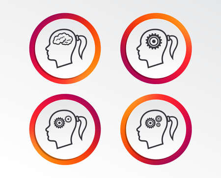 Head with brain icon. Female woman think symbols. Cogwheel gears signs. Infographic design buttons. Circle templates. Vector  イラスト・ベクター素材