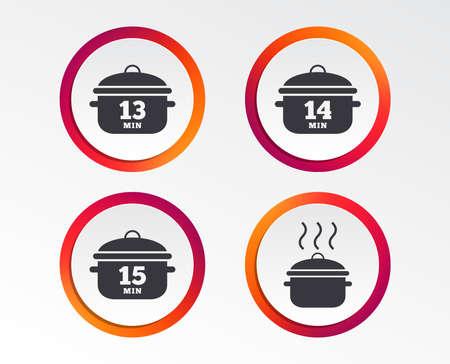 パンアイコンを調理します。13分、14分、15分の標識を沸騰させます。シチュー食品シンボル。インフォグラフィックデザインボタン。円テンプレー