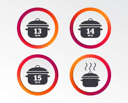 Cooking pan icons. Boil 13, 14 and 15 minutes signs. Stew food symbol. Info-graphic design buttons. Circle templates. Vector illustration. Illustration