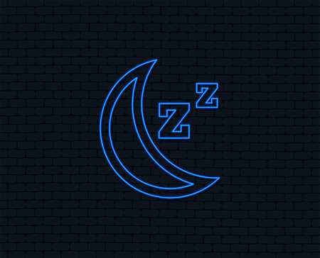 Neon light. Sleep sign icon. Moon with zzz button. Standby. Glowing graphic design. Brick wall. Vector