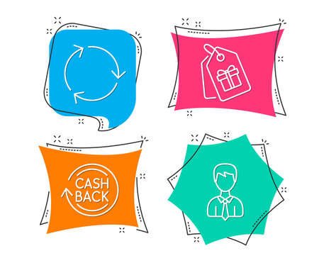 Set of coupons, cashback and recycling icons. Businessman sign. Shopping tags, refund commission, reduce waste. User data. Flat geometric colored tags. Vivid banners. Trendy graphic design. Vector illustration.
