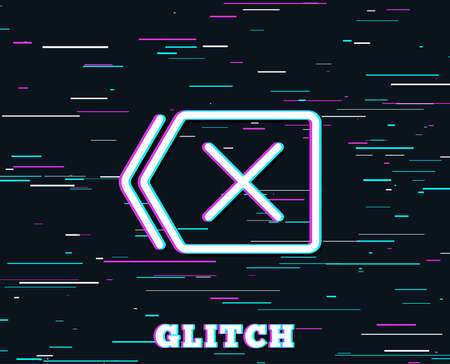 Glitch effect. Delete line icon. Remove sign. Cancel or Close symbol. Background with colored lines. Vector Illustration