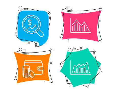 Set of currency audit, payment method and investment graph icons. Info-graphic graph sign. Money chart, wallet with coins, investment info-chart. Line diagram. Flat geometric colored tags. Vector illustration.