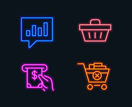 Neon lights. Set of analytical chat, Atm service and shopping basket icons. Remove purchase sign. Communication speech bubble, cash investment, sale offer. Delete from cart. Glowing graphic designs. Illustration