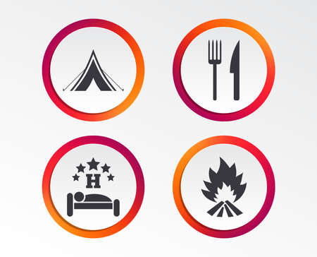 Food, sleep, camping tent and fire icons. Knife and fork. Hotel or bed and breakfast. Road signs. Info-graphic design buttons. Circle templates. Vector illustration. Illustration