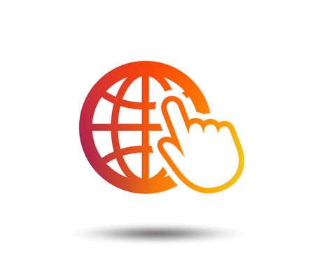 Internet sign icon. World wide web symbol. Cursor pointer. Blurred gradient design element. Vivid graphic flat icon. Vector 일러스트