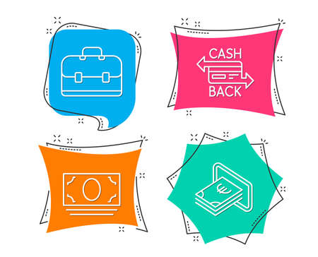 Set of cash money, portfolio and cashback card icons. Cash sign. Banking currency, business case, money payment. Atm payment. Flat geometric colored tags. Vivid banners. Trendy graphic design. Vector illustration.