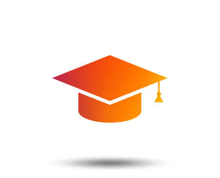 Graduation cap sign icon. Higher education symbol. Blurred gradient design element. Vivid graphic flat icon. Vector