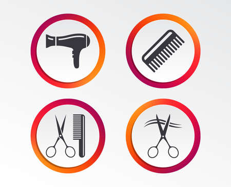 Hairdresser icons. Scissors cut hair symbol. Comb hair with hairdryer sign. Info-graphic design buttons. Circle templates. Vector illustration.