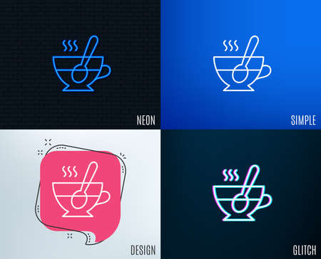 Glitch, neon effect. Cup with spoon line icon. Fresh beverage sign. Latte or coffee symbol. Trendy flat geometric designs. Vector illustration.
