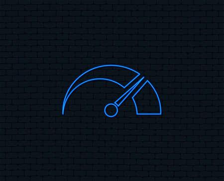 Neon light. Tachometer sign icon. Revolution-counter symbol. Car speedometer performance. Glowing graphic design. Brick wall. Vector Stock Illustratie