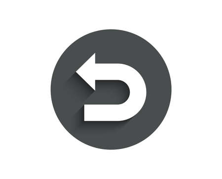 Undo arrow simple icon. Left turn direction symbol. Navigation pointer sign. Circle flat button with shadow. Vector