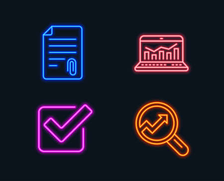 Neon lights. Set of Attachment, checkbox and Web analytics icons. Analytics sign. Attach file, approved tick, statistics. Audit analysis. Glowing graphic designs. Vector illustration.