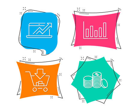 Set of column chart, sales diagram and shopping icons. Banking money sign. Financial graph, sale growth chart, ad to cart. Cash finance. Flat geometric colored tags. Vivid banners. Vector illustration. Illustration