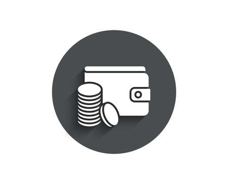 Wallet with coins simple icon. Cash money sign. Payment method symbol. Circle flat button with shadow. Vector illustration.