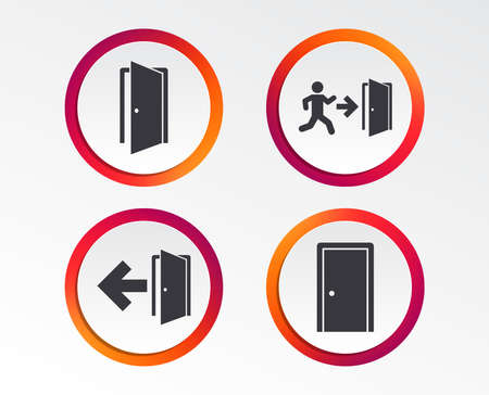 Doors icons. Emergency exit with human figure and arrow symbols. Fire exit signs. Info-graphic design buttons. Circle templates. Vector illustration.