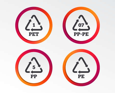 PET 1, PP-pe 07, PP 5 and PE icons. High-density Polyethylene terephthalate sign. Recycling symbol. Info-graphic design buttons. Circle templates. Vector illustration.