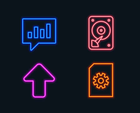 Neon lights. Set of Hdd, analytical chat and upload icons. File management sign. Hard disk, communication speech bubble, load arrowhead. Doc with cogwheel. Glowing graphic designs. Vector illustration.