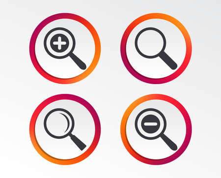 Magnifier glass icons. Plus and minus zoom tool symbols. Search information signs. Info-graphic design buttons. Circle templates. Vector illustration.