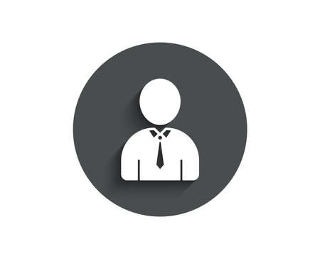 User simple icon. Profile avatar sign. Businessman person silhouette symbol. Circle flat button with shadow. Vector illustration.
