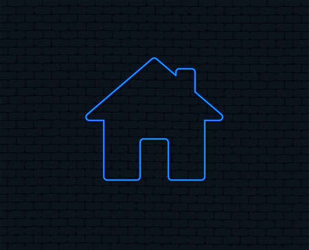 Neon light. Home sign icon. Main page button. Navigation symbol. Glowing graphic design. Brick wall. Vector illustration.
