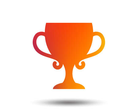Winner cup sign icon. Awarding of winners symbol. Trophy. Blurred gradient design element. Vivid graphic flat icon. Vector illustration. Illustration