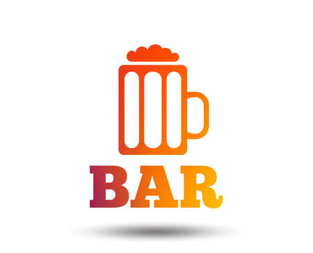 Bar or pub sign icon. Glass of beer symbol. Alcohol drink symbol. Blurred gradient design element. Vivid graphic flat icon. Vector illustration. Illusztráció
