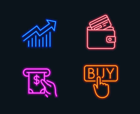 Neon lights. Set of demand curve, Atm service and debit card icons. Buying sign. statistical report, cash investment, wallet with credit card. E-commerce shopping. Glowing graphic designs. Vector illustration. Illustration