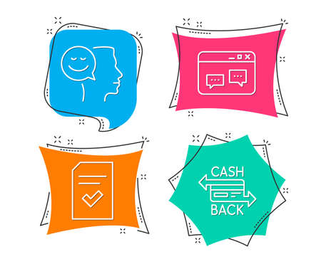 Set of Checked file, Browser window and Good mood icons. Cashback card sign Flat geometric colored tags. Vivid banners Vector illustration.