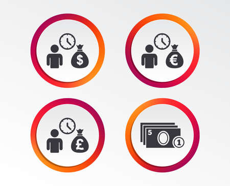 Bank loans icons. Cash money bag symbols. Borrow money sign. Get Dollar money fast. Infographic design buttons. Circle templates Vector illustration.