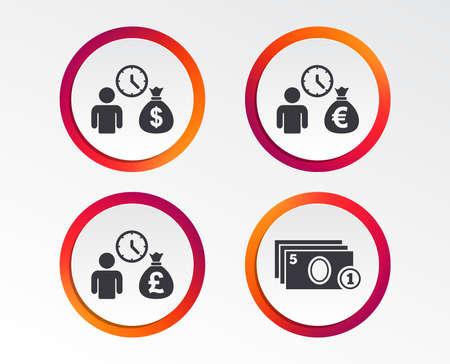 Bank loans icons. Cash money bag symbols. Borrow money sign. Get Dollar money fast. Infographic design buttons. Circle templates Vector illustration.